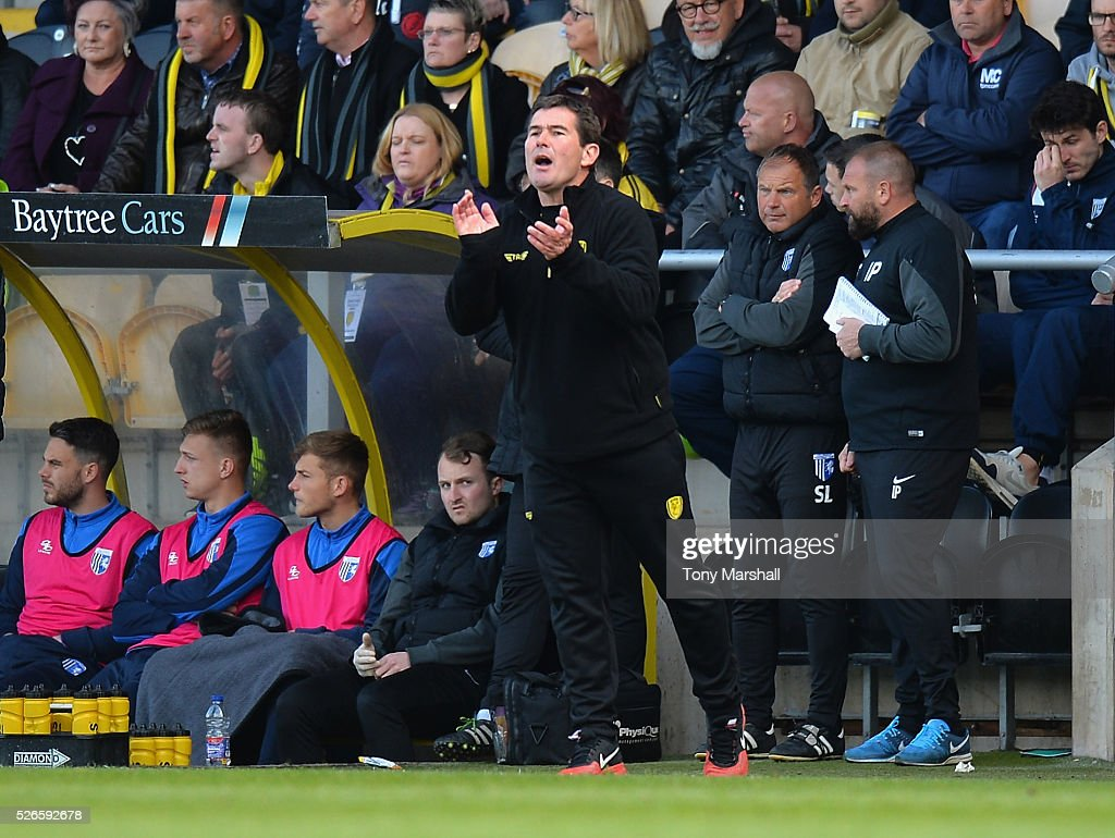 <a gi-track='captionPersonalityLinkClicked' href=/galleries/search?phrase=Nigel+Clough&family=editorial&specificpeople=901071 ng-click='$event.stopPropagation()'>Nigel Clough</a>, Manager of Burton Albion encourages his team during the Sky Bet League One match between Burton Albion and Gillingham at Pirelli Stadium on April 30, 2016 in Burton-upon-Trent, England.