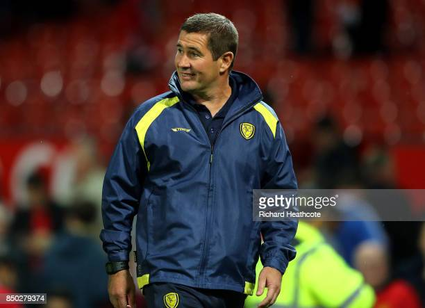 Nigel Clough manager of Burton Albion looks on during the Carabao Cup Third Round match between Manchester United and Burton Albion at Old Trafford...