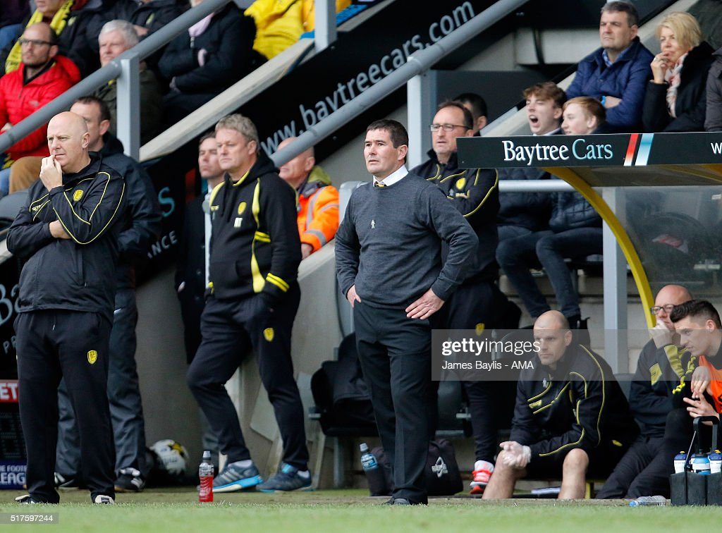 Nigel Clough manager of Burton Albion looks on during the Sky Bet League One match between Burton Albion and Oldham Athletic at Pirelli Stadium on March 26, 2016 in Burton-upon-Trent, England.