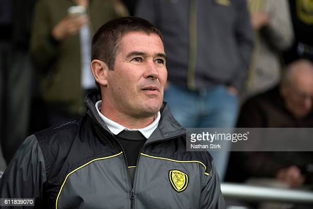 Nigel Clough manager of Burton Albion looks on during the Sky Bet Championship match between Burton Albion and Cardiff City at Pirelli Stadium on...
