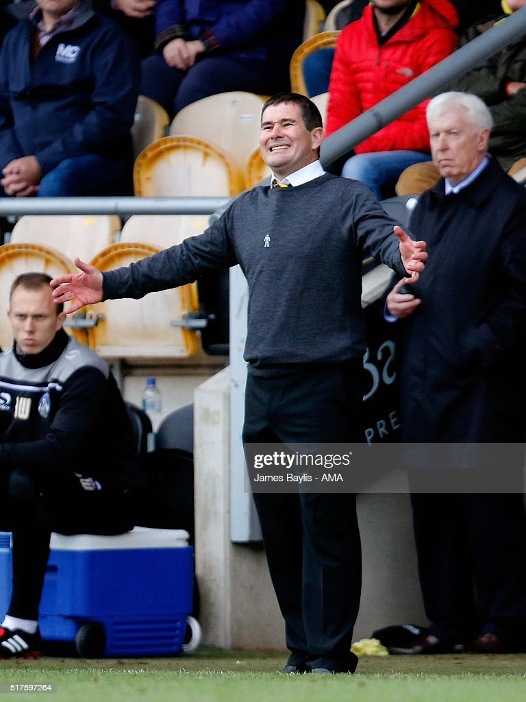 Nigel Clough manager of Burton Albion reacts during the Sky Bet League One match between Burton Albion and Oldham Athletic at Pirelli Stadium on March 26, 2016 in Burton-upon-Trent, England.