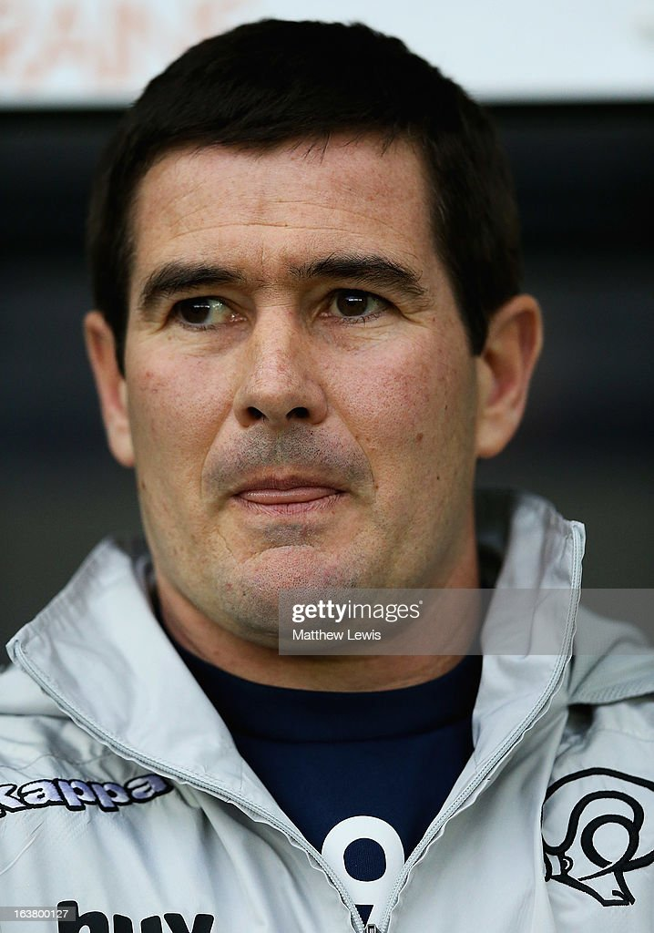 Nigel Clough, manager of Derby County looks on during the npower Championship match between Derby County and Leicester City at Pride Park Stadium on March 16, 2013 in Derby, England.