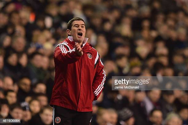 Nigel Clough manager of Sheffield United gives instructions during the Capital One Cup SemiFinal first leg match between Tottenham Hotspur and...