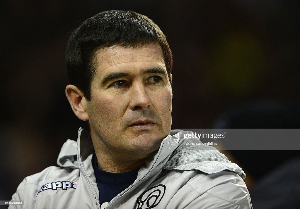 <a gi-track='captionPersonalityLinkClicked' href=/galleries/search?phrase=Nigel+Clough&family=editorial&specificpeople=901071 ng-click='$event.stopPropagation()'>Nigel Clough</a> of Derby County look on during the npower Championship match between Derby County and Bristol City at Pride Park Stadium on March 29, 2013 in Derby, England.
