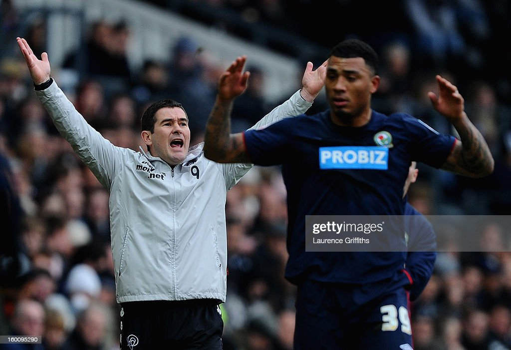Nigel Clough of Derby County shows his frustrations towards Colin Kazim-Richards of Blackburn Rovers during the FA Cup with Budweiser Fourth Round match between Derby County and Blackburn Rovers at Pride Park Stadium on January 26, 2013 in Derby, England.