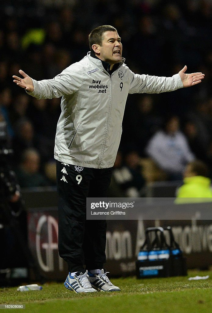<a gi-track='captionPersonalityLinkClicked' href=/galleries/search?phrase=Nigel+Clough&family=editorial&specificpeople=901071 ng-click='$event.stopPropagation()'>Nigel Clough</a> of Derby Countygives instructions during the npower Championship match between Derby County and Crystal Palace at Pride Park Stadium on March 1, 2013 in Derby, England.