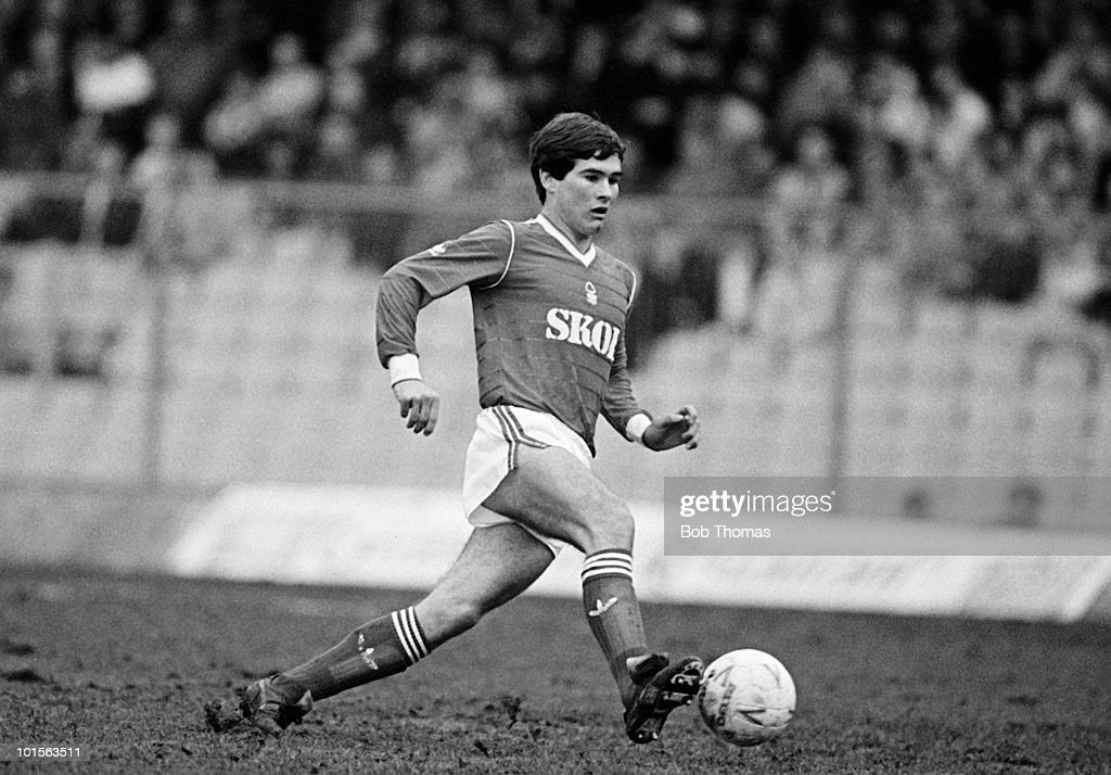 Nigel Clough of Nottingham Forest in action against Coventry City in a Division One match held at Highfield Road, Coventry on 29th March 1986. The match ended in a 0-0 draw. (Bob Thomas/Getty Images).