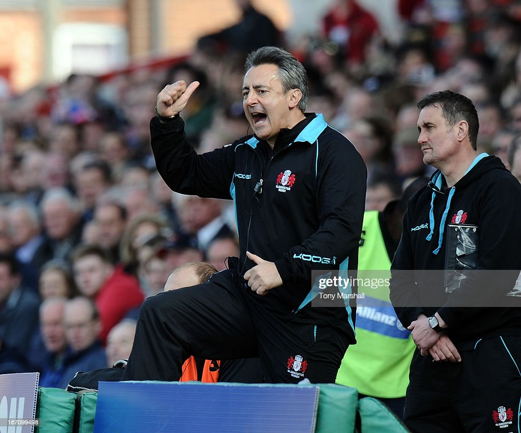 Nigel Davies, Director of Rugby of Gloucester reacts during the Aviva Premiership match between Gloucester and Saracens at Kingsholm Stadium on April 20, 2013 in Gloucester, England.