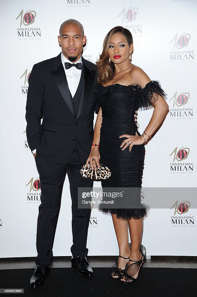 Nigel De Jong and Winonah attend Fondazione Milan 10th Anniversary Gala on November 20, 2013 in Milan, Italy.