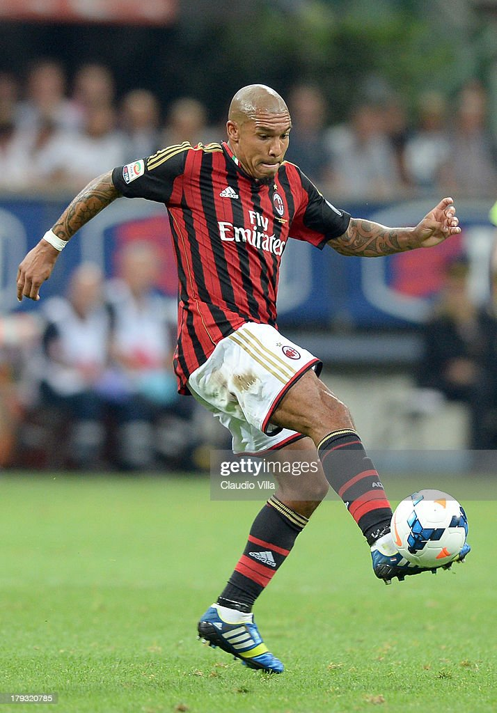 Nigel de Jong of AC Milan in action during the Serie A match between AC Milan and Cagliari Calcio at San Siro Stadium on September 1, 2013 in Milan, Italy.