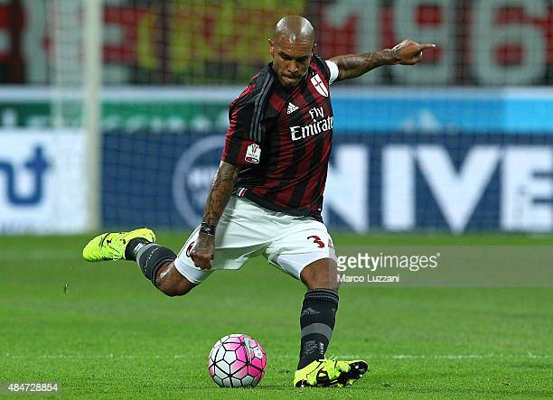 Nigel De Jong of AC Milan in action during the TIM Cup match between AC Milan and AC Perugia at Stadio Giuseppe Meazza on August 17 2015 in Milan...