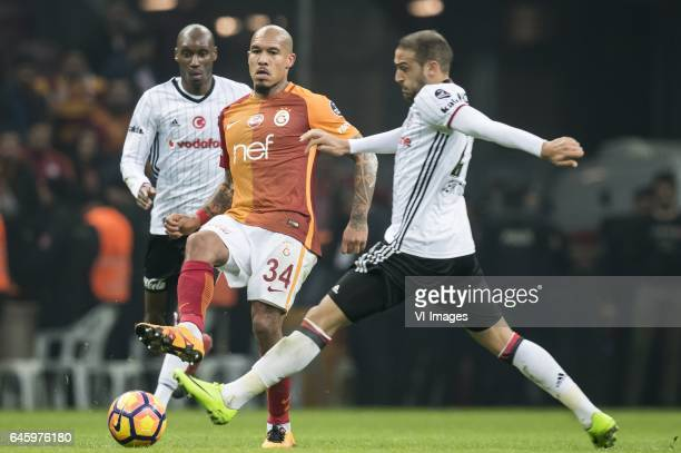 Nigel de Jong of Galatasaray Cenk Tosun of Besiktas JKduring the Turkish Spor Toto Super Lig football match between Galatasaray SK and Besiktas JK on...