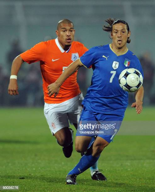 Nigel De Jong of Holland and Mauro German Camoranesi of Italy in action during the International Friendly Match between Italy and Holland at...