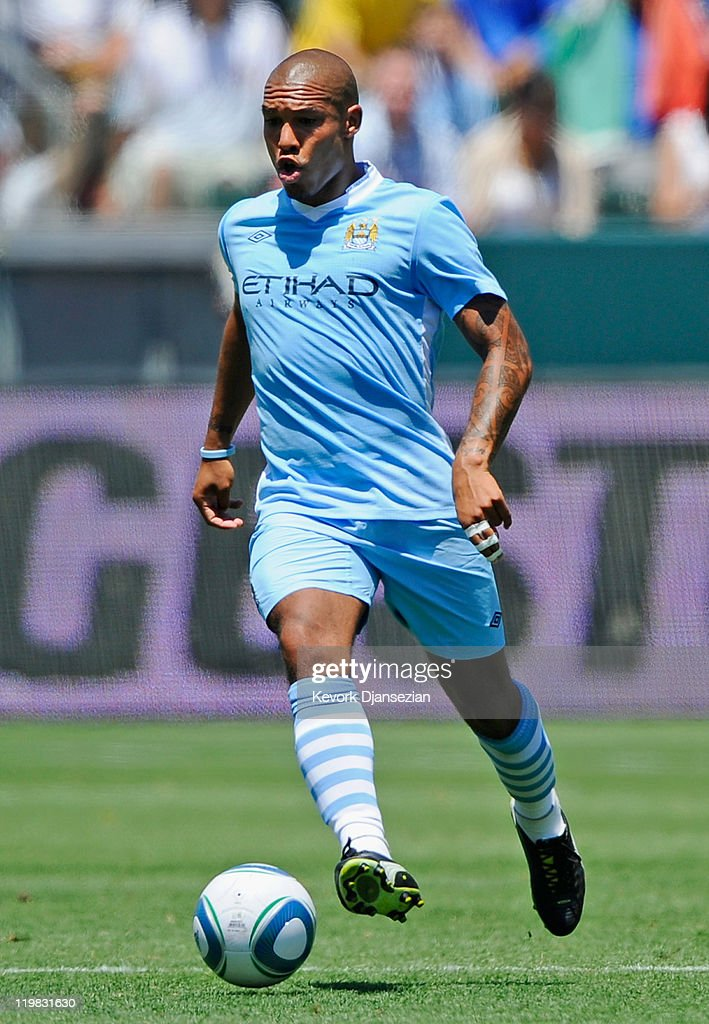 Nigel de Jong #34 of Manchester City against Los Angeles Galaxy during the Herbalife World Football Challenge 2011 friendly soccer match at the Home Depot Center on July 24, 2011 in Carson, California