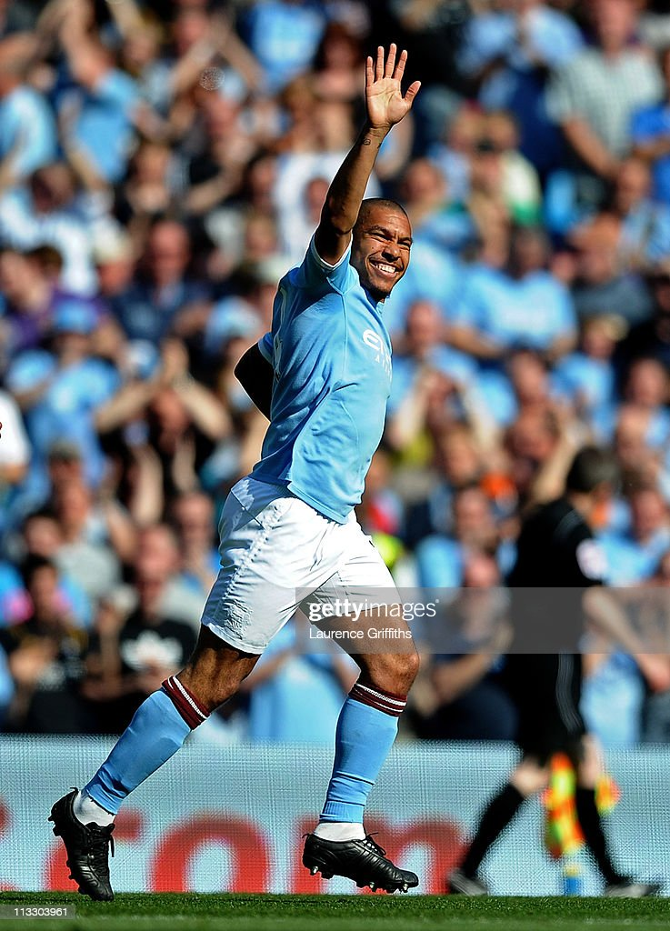 <a gi-track='captionPersonalityLinkClicked' href=/galleries/search?phrase=Nigel+de+Jong&family=editorial&specificpeople=579818 ng-click='$event.stopPropagation()'>Nigel de Jong</a> of Manchester City celebrates scoring the opening goal during the Barclays Premier League match between Manchester City and West Ham United at the City of Manchester Stadium on May 1, 2011 in Manchester, England.