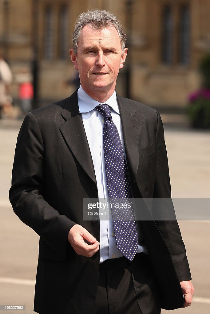 Nigel Evans, the Deputy Commons Speaker who was arrested at the weekend over rape and sexual assault allegations, prepares to address the media in front of the Houses of Parliament on May 7, 2013 in London, England. Mr Evans, the Conservative MP for Ribble Valley in Lancashire, has been questioned about alleged attacks on two men, something which he strenuously denies.