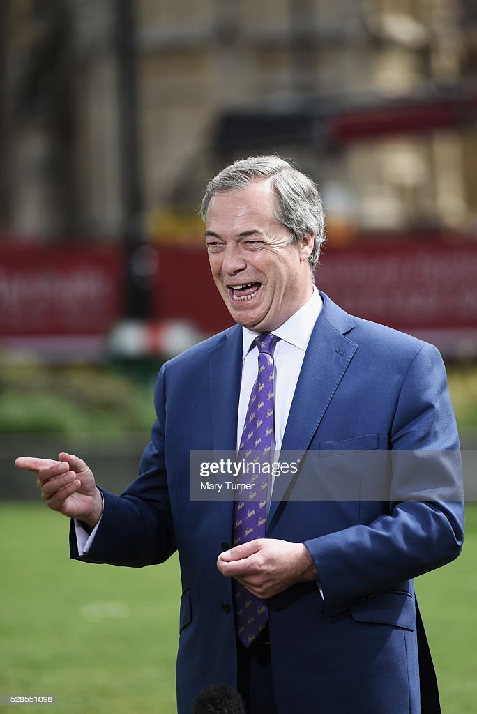 Nigel Farage gives his verdict on UKIP's performance in the Local Council and Assembly Elections, at College Green, Westminster on May 6, 2016 in London, England. UKIP has made gains across the UK, winning seats in the Welsh Assembly in particular where the right-wing party has won 23 seats.