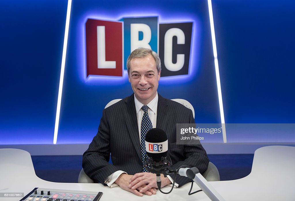 Nigel Farage joins LBC where he will present his own nightly show 'The Nigel Farage Show' which starts on January 9th 2017 at LBC Studio on January 5, 2017 in London, England.