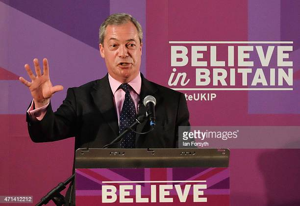 Nigel Farage leader of the UK Independence Party gives a speech to party supporters at a hotel on April 28 2015 in Hartlepool England The visit to...