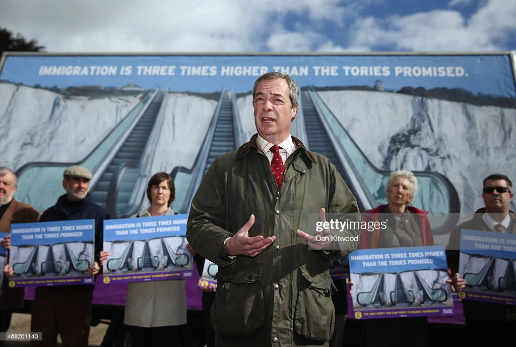 Nigel Farage leader of the UK Independence Party launches the party's new billboard on March 31 2015 in Dover England UKIP unveiled their latest...