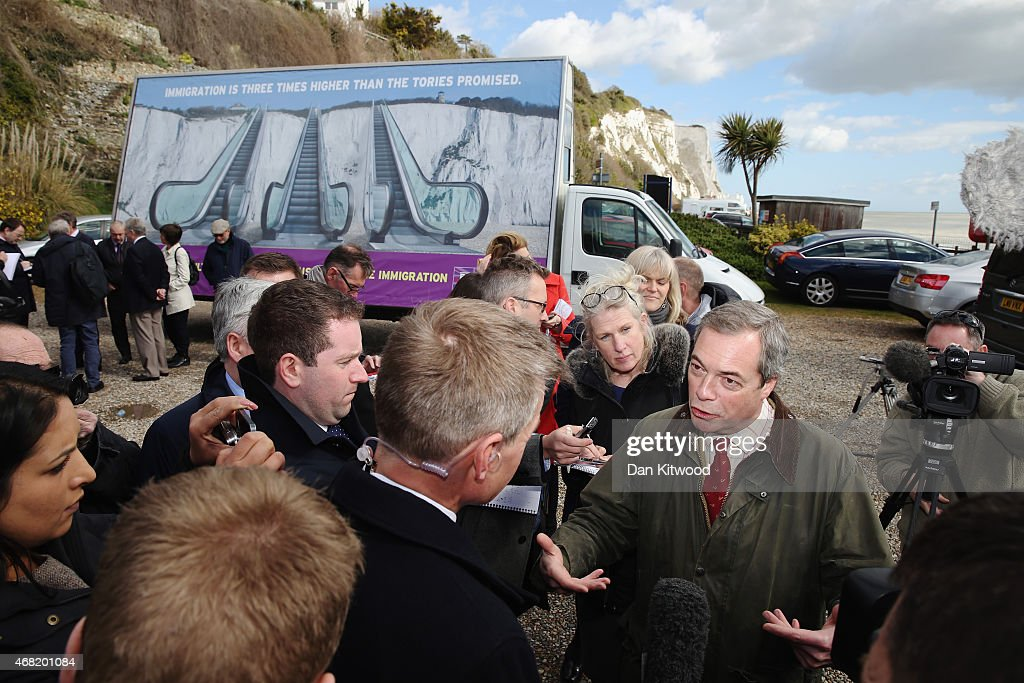 Nigel Farage leader of the UK Independence Party speaks to members of the media after launching the party's new billboard on March 31 2015 in Dover...