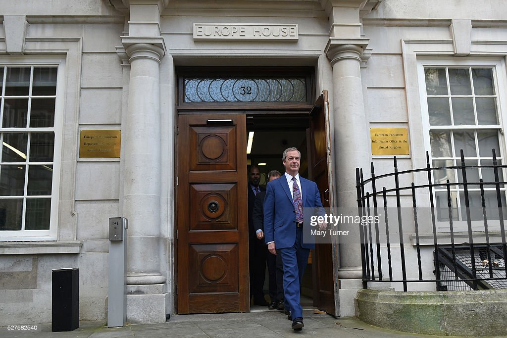 <a gi-track='captionPersonalityLinkClicked' href=/galleries/search?phrase=Nigel+Farage&family=editorial&specificpeople=697991 ng-click='$event.stopPropagation()'>Nigel Farage</a>, leader of the United Kingdom Independence Party, exits Europe House, in Smith Square ahead of unveiling the party's final election poster of the London Mayoral election campaign on May 3, 2016 in London, England. The election will decide which candidate will replace current mayor Boris Johnson and are predicting a close contest between Labour's Sadiq Khan and Zac Goldsmith when London goes to the polls on May 5th 2016.