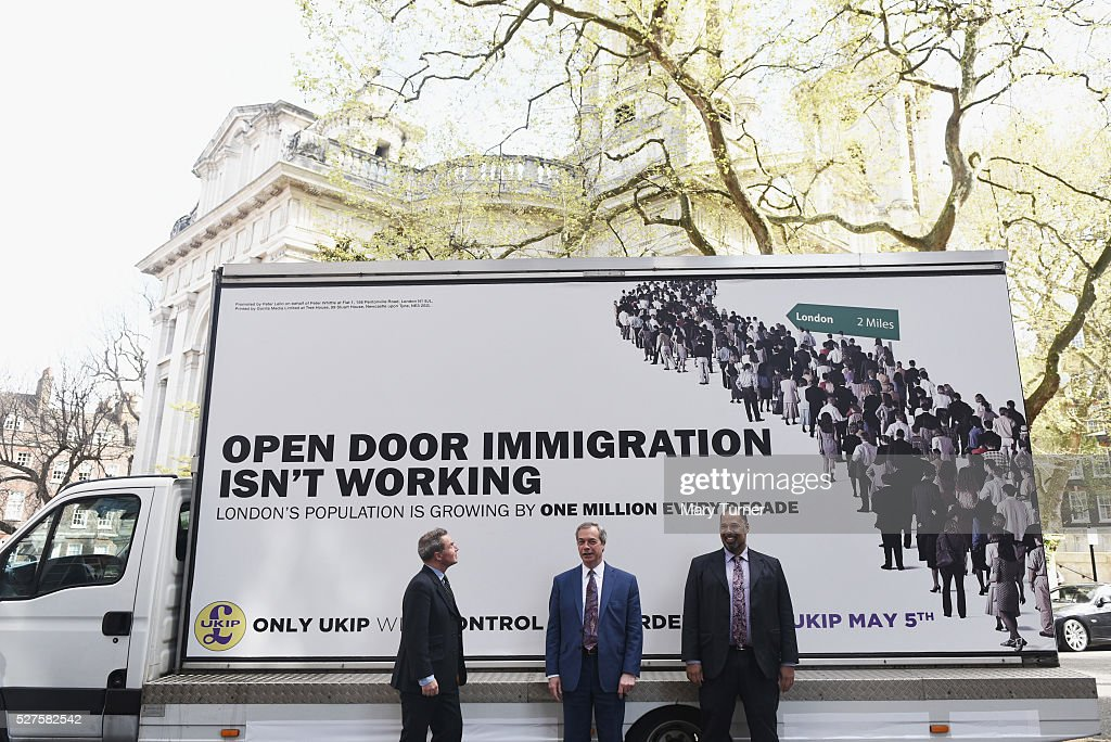 <a gi-track='captionPersonalityLinkClicked' href=/galleries/search?phrase=Nigel+Farage&family=editorial&specificpeople=697991 ng-click='$event.stopPropagation()'>Nigel Farage</a> (centre) leader of the United Kingdom Independence Party, poses wth London mayoral candidate Peter Whittle (left) and David Kurten, (right), candidate for the London Assembly elections, in Smith Square ahead of unveiling the party's final election poster of the London Mayoral election campaign on May 3, 2016 in London, England. The election will decide the candidate to replace current mayor Boris Johnson and pollsters are predicting a close contest between Labour's Sadiq Khan and Zac Goldsmith when London goes to the polls on May 5th 2016.
