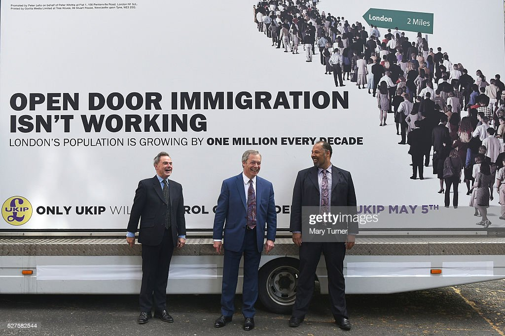 <a gi-track='captionPersonalityLinkClicked' href=/galleries/search?phrase=Nigel+Farage&family=editorial&specificpeople=697991 ng-click='$event.stopPropagation()'>Nigel Farage</a> (centre) leader of the United Kingdom Independence Party, poses with London mayoral candidate Peter Whittle (left) and David Kurten, (right), candidate for the London Assembly elections, in Smith Square ahead of unveiling the party's final election poster of the London Mayoral election campaign on May 3, 2016 in London, England. The election will decide which candidate will replace current mayor Boris Johnson and pollsters are predicting a close contest between Labour's Sadiq Khan and Zac Goldsmith when London goes to the polls on May 5th 2016.