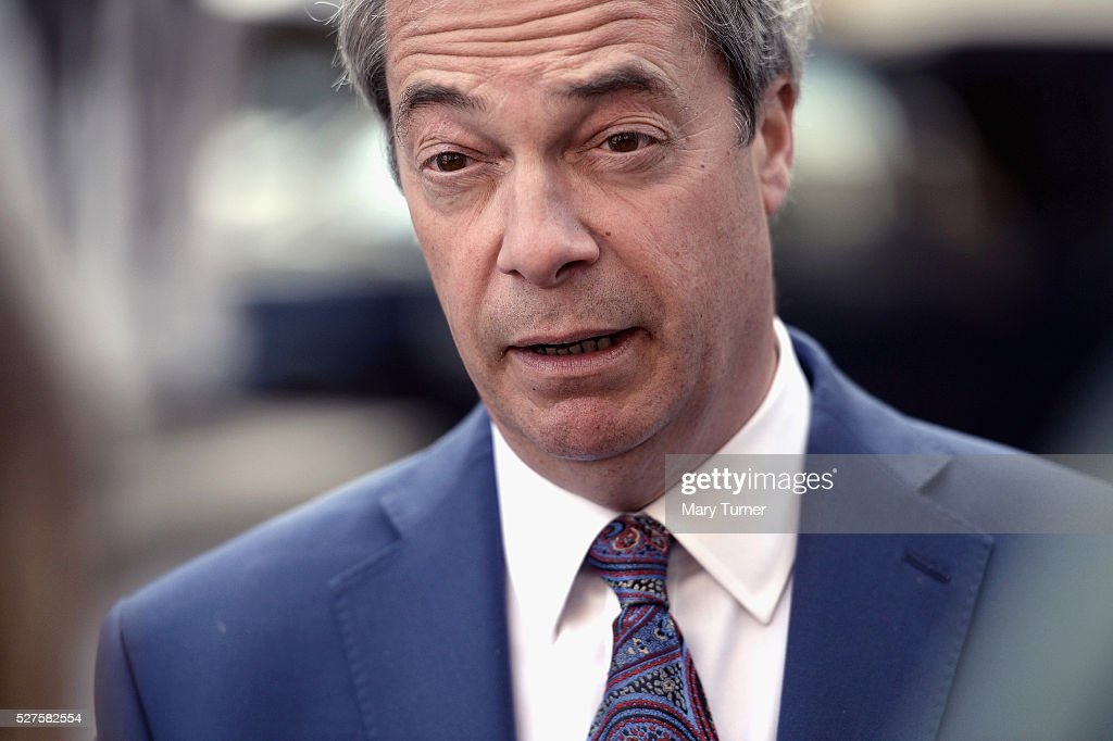 <a gi-track='captionPersonalityLinkClicked' href=/galleries/search?phrase=Nigel+Farage&family=editorial&specificpeople=697991 ng-click='$event.stopPropagation()'>Nigel Farage</a>, leader of the United Kingdom Independence Party, speaks to the press after unveiling the party's final election poster of the London Mayoral election campaign in Smith Square, Westminster, on May 3, 2016 in London, England. The election will decide the candidate to replace current mayor Boris Johnson and pollsters are predicting a close contest between Labour's Sadiq Khan and Zac Goldsmith when London goes to the polls on May 5th 2016.