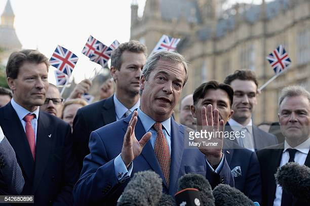 Nigel Farage leader of UKIP and Vote Leave campaigner arrives to speak to the assembled media at College Green Westminster following the results of...