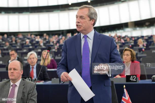 Nigel Farage member of European Parliament and former leader of the UK Independence Party speaks ahead of vote the UK's Brexit resolution principles...
