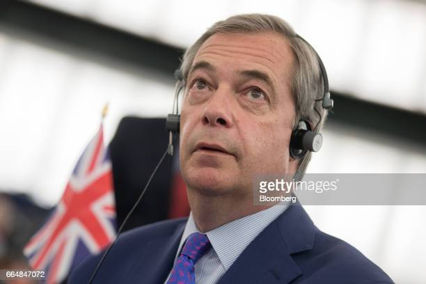 Nigel Farage member of European Parliament and former leader of the UK Independence Party looks on ahead of a vote on the UK's Brexit resolution...