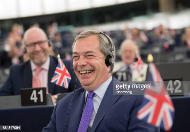 Nigel Farage member of European Parliament and former leader of the UK Independence Party reacts ahead of a vote on the UK's Brexit resolution...