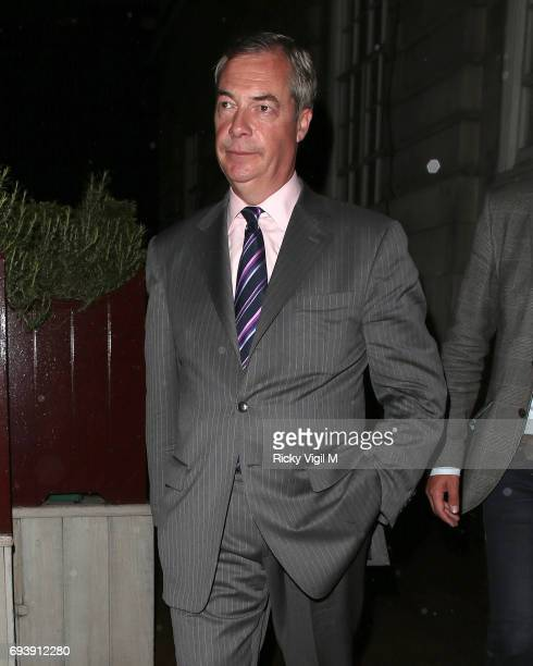 Nigel Farage seen on a night out at Loulou's members club in Mayfair after general election day on June 8 2017 in London England
