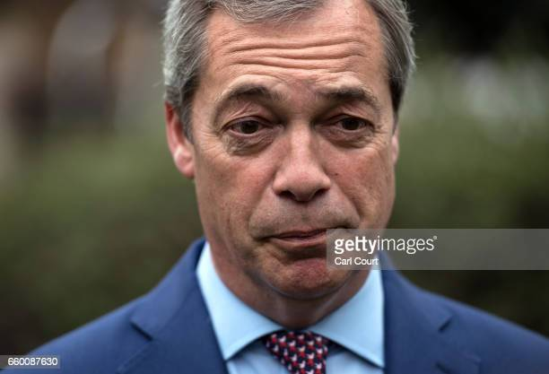 Nigel Farage speaks to the media outside the Houses of Parliament on March 29 2017 in London England Today British Prime Minister Theresa May...