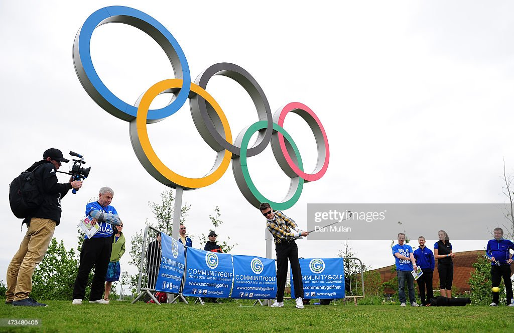 Nigel Feakes of Shoreditch Golf Club hits his tee shot on the 2nd hole during the UK Cross Golf Open at Queen Elizabeth Olympic Park on May 15, 2015 in London, England.