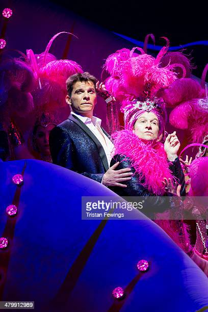 Nigel Harman as Simon Cowell and Billy Carter as Gerrard during a photocall for 'I Can't Sing The X Factor Musical' at London Palladium on March 21...