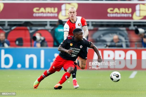 Nigel Hasselbaink of Excelsior Rick Karsdorp of Feyenoordduring the Dutch Eredivisie match between sbv Excelsior Rotterdam and Feyenoord Rotterdam at...