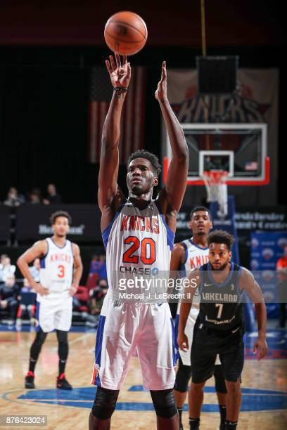Nigel Hayes of the Westchester Knicks Shoots a free throw against the Lakeland Magic during an NBA GLeague game on November 19 2017 at Westchester...
