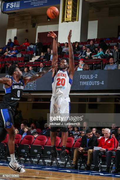 Nigel Hayes of the Westchester Knicks Shoots the ball against the Lakeland Magic during an NBA GLeague game on November 19 2017 at Westchester County...