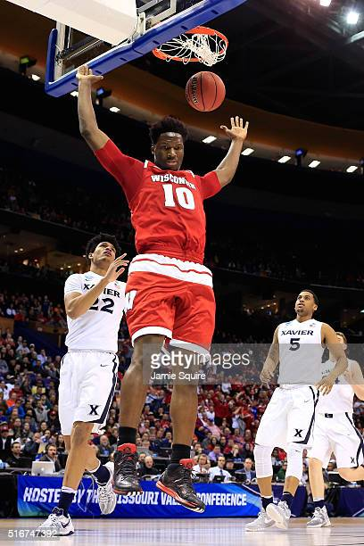 Nigel Hayes of the Wisconsin Badgers dunks in the first half against the Xavier Musketeers during the second round of the 2016 NCAA Men's Basketball...