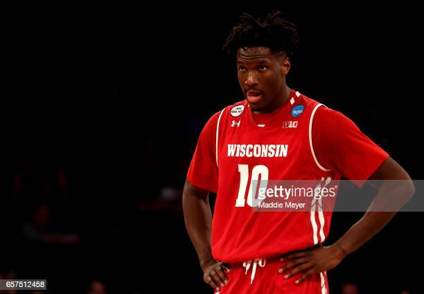 Nigel Hayes of the Wisconsin Badgers reacts in the second half against the Florida Gators during the 2017 NCAA Men's Basketball Tournament East...