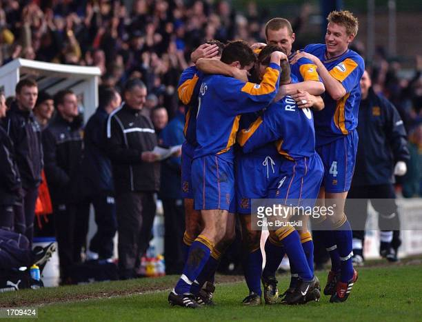 Nigel Jemson of Shrewsbury celebrates scoring with team mates during the Shrewsbury Town v Everton FA Cup Third Round match at Gay Meadow on January...