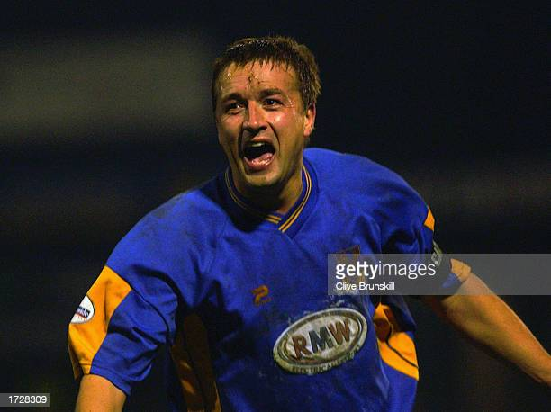Nigel Jemson of Shrewsbury Town celebrates scoring during the FA Cup Third Round match between Shrewsbury Town and Everton held on January 4 2003 at...