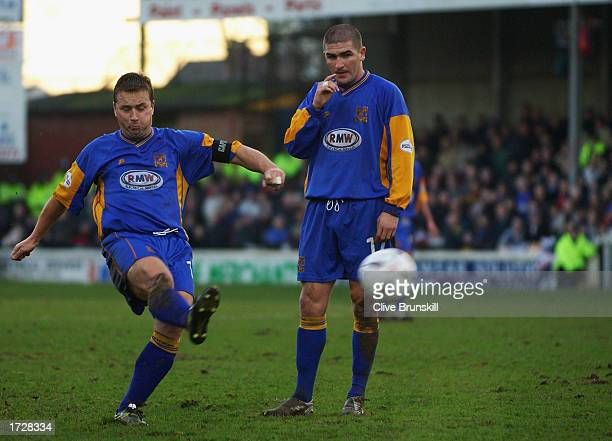 Nigel Jemson of Shrewsbury Town taking a freekick which results in a goal during the FA Cup Third Round match between Shrewsbury Town and Everton...