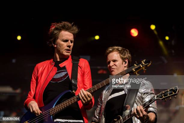 Nigel John Taylor and Andy Taylor from Duran Duran performs at Lollapalooza Brazil day 2 at Autodromo de Interlagos on March 26 2017 in Sao Paulo...