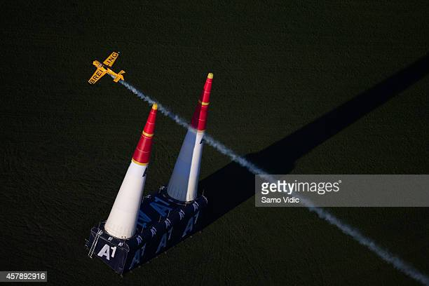 Nigel Lamb of Great Britain competes during the finals for the eighth stage of the Red Bull Air Race World Championship on October 26 2014 in...