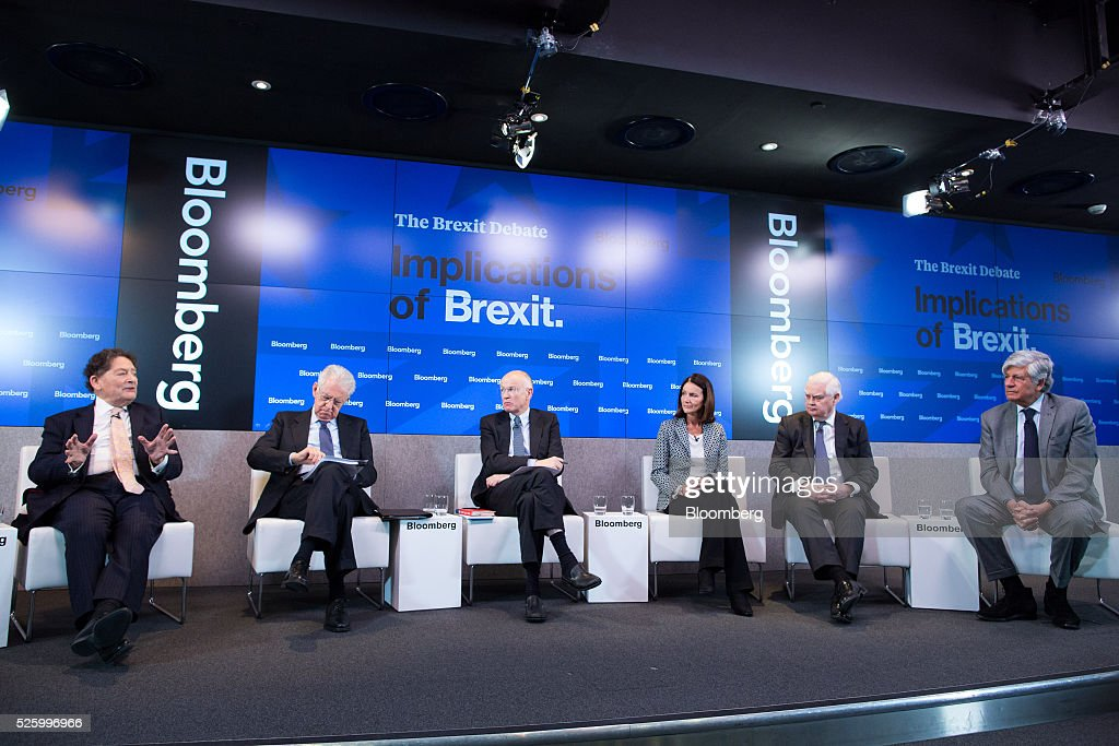 Nigel Lawson, former U.K. chancellor of the exchequer, gestures, as, left to right, Mario Monti, former Italian prime minister, Jon Moulton, founder and managing partner of Better Capital, Carolyn Fairbairn, director general of the Confederation of British Industry (CBI), Norman Lamont, former U.K. chancellor of the exchequer and Maurice Levy, chief executive officer of Publicis Groupe SA, look on during a debate entitled 'The Implications of Brexit' in London, U.K., on Friday, April 29, 2016. U.K. Prime Minister David Cameron said he'll hold a long-pledged referendum on the U.K.s membership of the European Union on June 23. Photographer: Jason Alden/Bloomberg via Getty Images