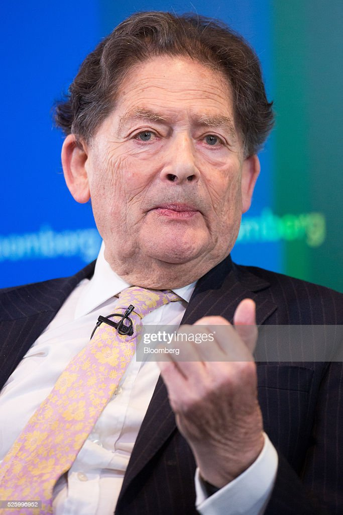 <a gi-track='captionPersonalityLinkClicked' href=/galleries/search?phrase=Nigel+Lawson&family=editorial&specificpeople=831989 ng-click='$event.stopPropagation()'>Nigel Lawson</a>, former U.K. chancellor of the exchequer, gestures whilst speaking during a debate entitled 'The Implications of Brexit' in London, U.K., on Friday, April 29, 2016. U.K. Prime Minister David Cameron said he'll hold a long-pledged referendum on the U.K.s membership of the European Union on June 23. Photographer: Jason Alden/Bloomberg via Getty Images