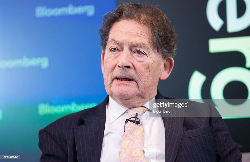 Nigel Lawson, former U.K. chancellor of the exchequer, speaks during a debate entitled 'The Implications of Brexit' in London, U.K., on Friday, April 29, 2016. U.K. Prime Minister David Cameron said he'll hold a long-pledged referendum on the U.K.s membership of the European Union on June 23. Photographer: Jason Alden/Bloomberg via Getty Images